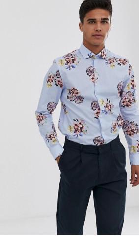 Blå skjorta med blommigt mönster från Asos